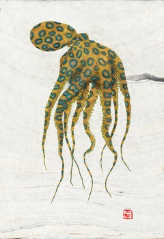 Blue Ringed Octopus - Gyotaku Style Japanese Sumi Ink Painting w/ Yellow & Blue