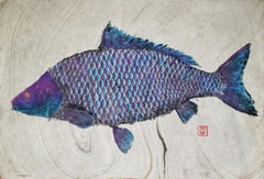 Hank - Japanese Style Gyotaku Fish Painting on Mulberry Paper, Sumi Ink