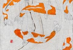 Kikusui - Japanese Gyotaku Painting of Orange Koi on Marbled Mulberry Paper