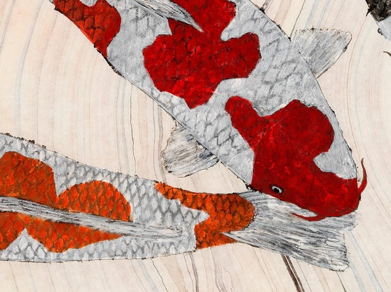 Koi Pond: Circling - Japanese Style Gyotaku Painting on Marbled Mulberry Paper - Contemporary Art by Jeff Conroy