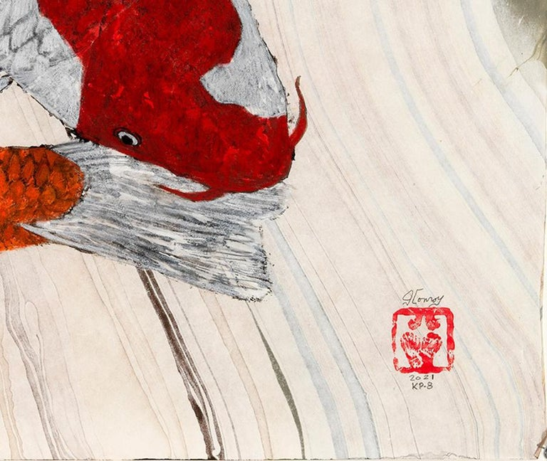 Koi Pond: Circling - Japanese Style Gyotaku Painting on Marbled Mulberry Paper - Beige Animal Art by Jeff Conroy