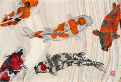 Koi Pond Gathering - Japanese Style Gyotaku Painting on Marbled Mulberry Paper