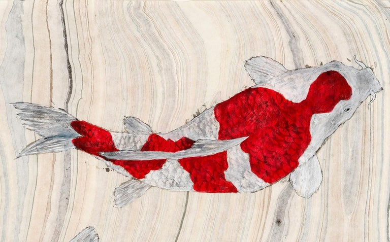 Koi Pond Impasse - Japanese Style Gyotaku Painting on Marbled Mulberry Paper - Beige Animal Painting by Jeff Conroy