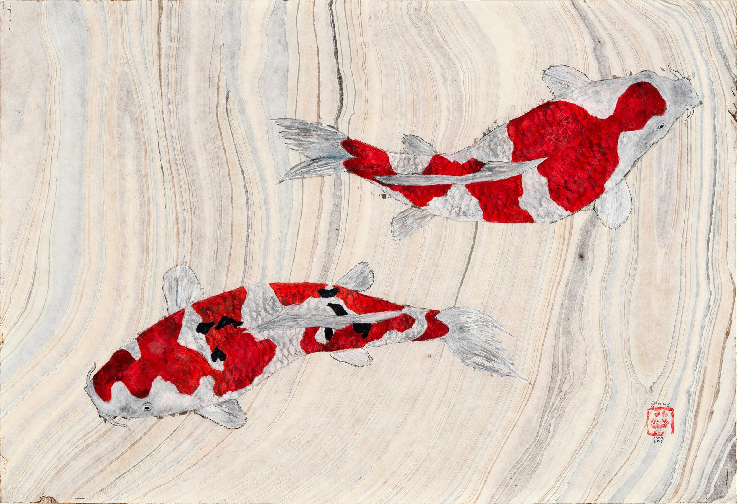 Koi Pond Impasse - Japanese Style Gyotaku Painting on Marbled Mulberry Paper