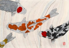 Koi Pond: Inclusion  - Japanese Style Gyotaku Painting on Marbled Mulberry Paper