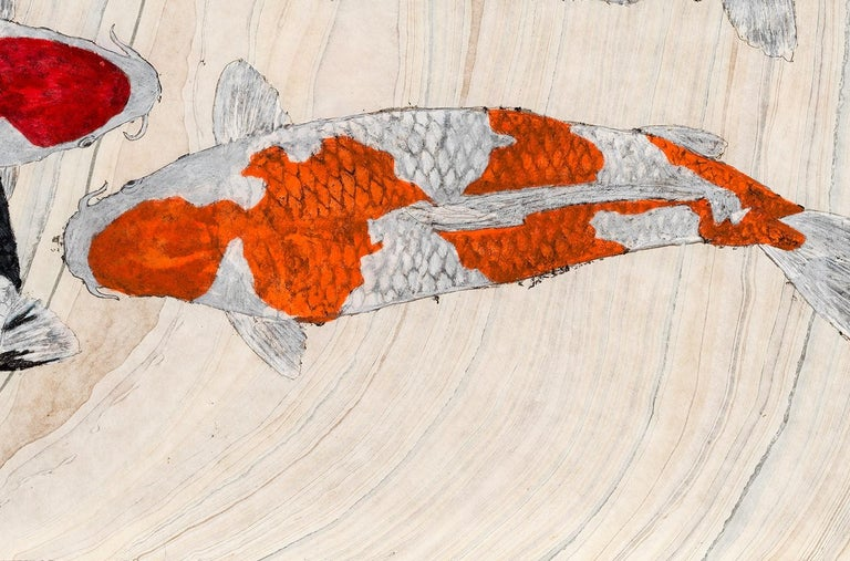 Koi Pond Overpass - Japanese Style Gyotaku Painting on Marbled Mulberry Paper - Contemporary Art by Jeff Conroy