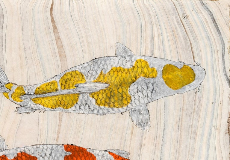 Koi Pond Overpass - Japanese Style Gyotaku Painting on Marbled Mulberry Paper - Beige Animal Art by Jeff Conroy