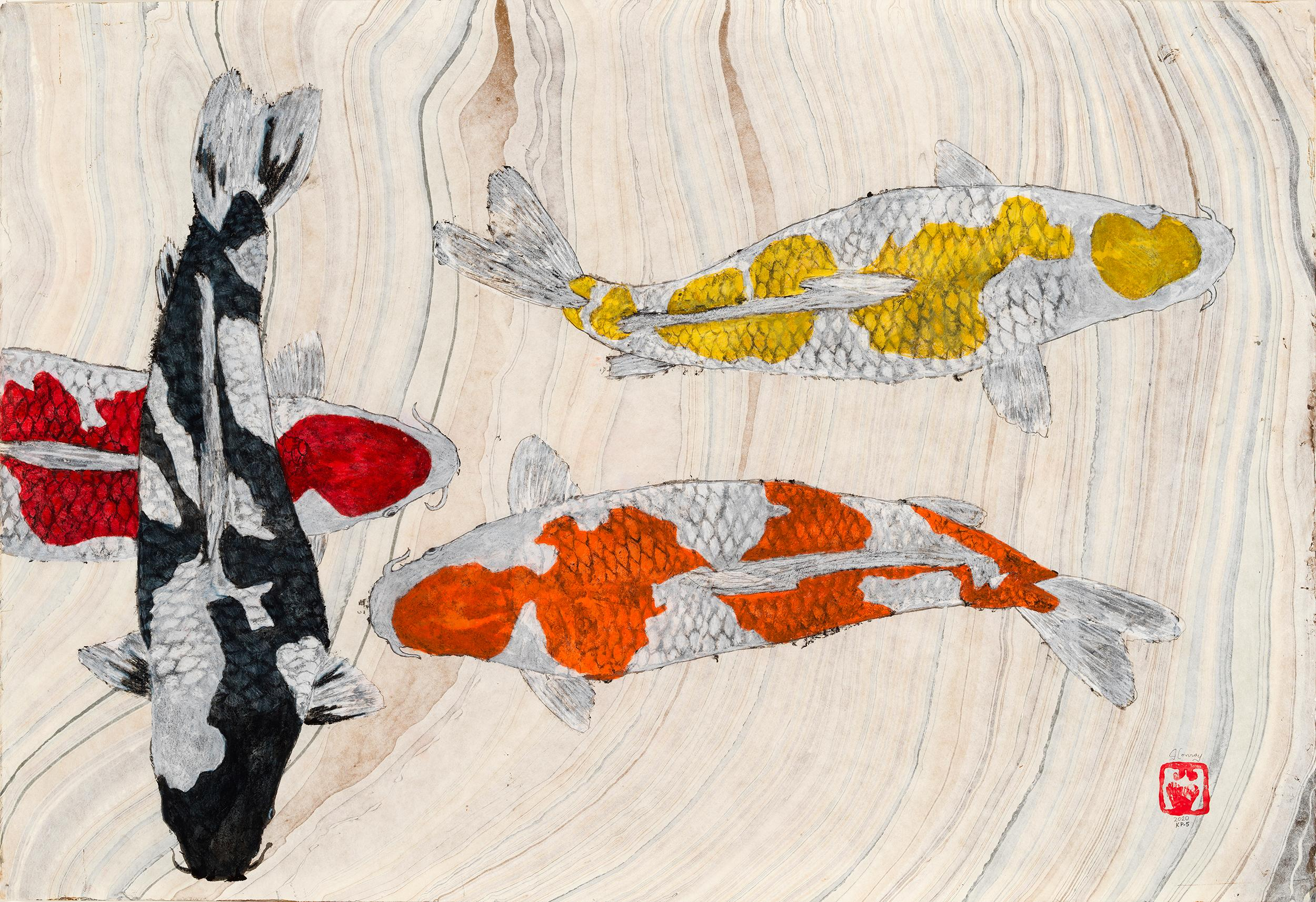 Koi Pond Overpass - Japanese Style Gyotaku Painting on Marbled Mulberry Paper