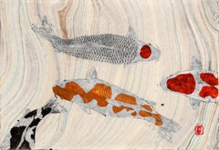 Koi Pond: The Arrival - Japanese Style Gyotaku Painting, Marbled Mulberry Paper