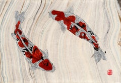 Koi Pond Yin and Yang -Japanese Style Gyotaku Painting on Marbled Mulberry Paper