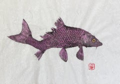 Plum Crooked Carp - Japanese Style Gyotaku Painting of Fish on Mulberry Paper