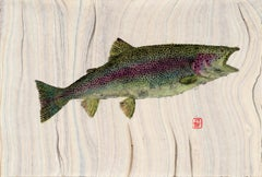 Rainbow, Japanese Style Gyotaku Fish Painting of a Trout, on Mulberry Paper