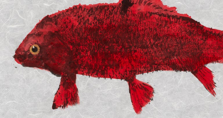 Red Fish Blue Fish - Japanese Style Gyotaku Double Fish Painting in Red and Blue - Art by Jeff Conroy