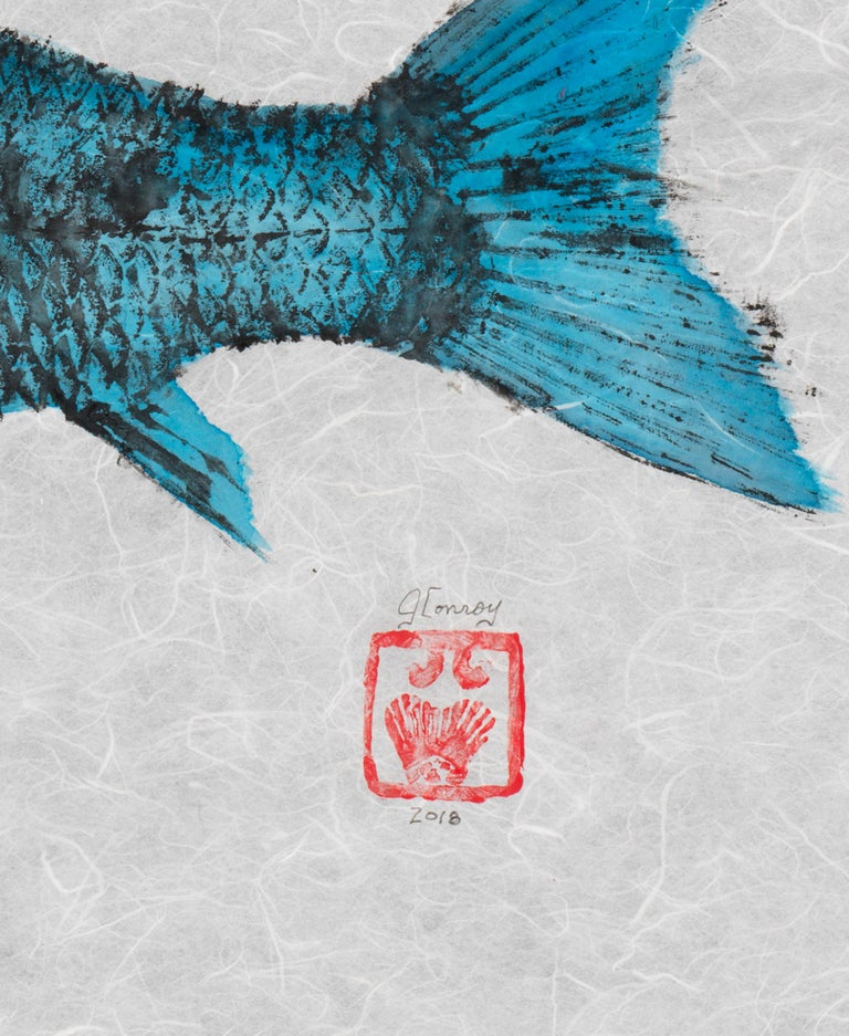 Red Fish Blue Fish - Japanese Style Gyotaku Double Fish Painting in Red and Blue - Gray Animal Art by Jeff Conroy