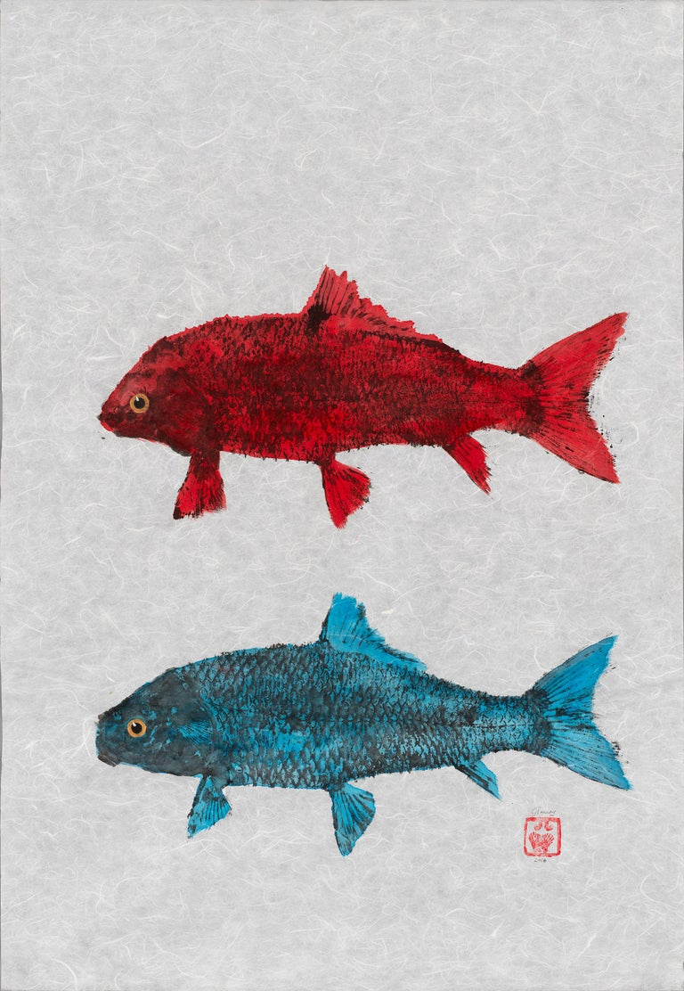 Jeff Conroy Animal Art - Red Fish Blue Fish - Japanese Style Gyotaku Double Fish Painting in Red and Blue