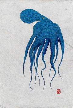 Ascending Blue - Gyotaku Style Japanese Sumi Ink Painting of Large Blue Octopus