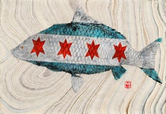 Sweet Home, Japanese Style Gyotaku Fish Painting on Mulberry Paper, Chicago Flag