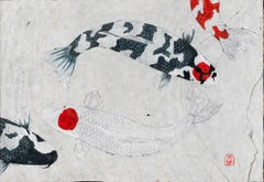 Two Tanchos - Japanese Gyotaku Painting of Koi on Marbled Mulberry Paper