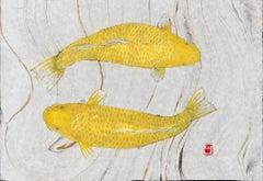 Yamabuki Ogon - Japanese Gyotaku Painting of Koi on Marbled Mulberry Paper