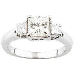 Jeff Cooper Platinum Princess Cut 3-Stone Diamond Engagement Ring