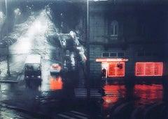 Night Rain - City Street by Night / Urban Scene in Sculptural Glass