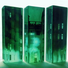 Parallel Worlds - Glowing Green City / Urban Scene in Sculptural Glass: Triptych