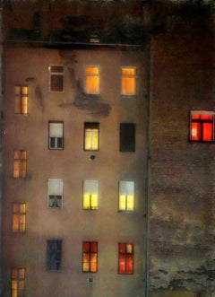 Windows in the East - City Building by Night / Urban Scene in Sculptural Glass