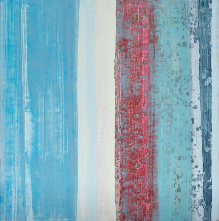 The Five Senses: Pink Champagne - Blue Abstract Painting by Jeff Erickson