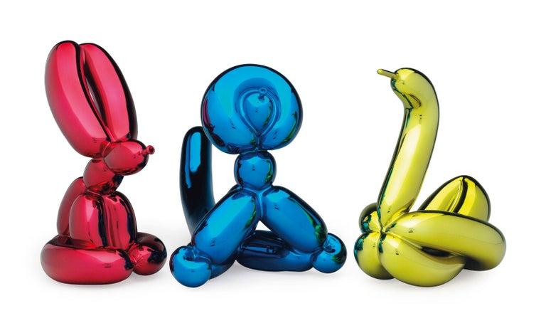 Jeff Koons Balloon Rabbit, Balloon Swan, Balloon Monkey - Matching Set - Sculpture by Jeff Koons