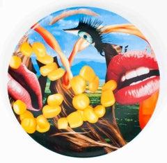 """Jeff Koons-Lips-12.5"""" x 12.5""""-Plate-2012-Pop Art-Multicolor-lips, eyes, mascara"""