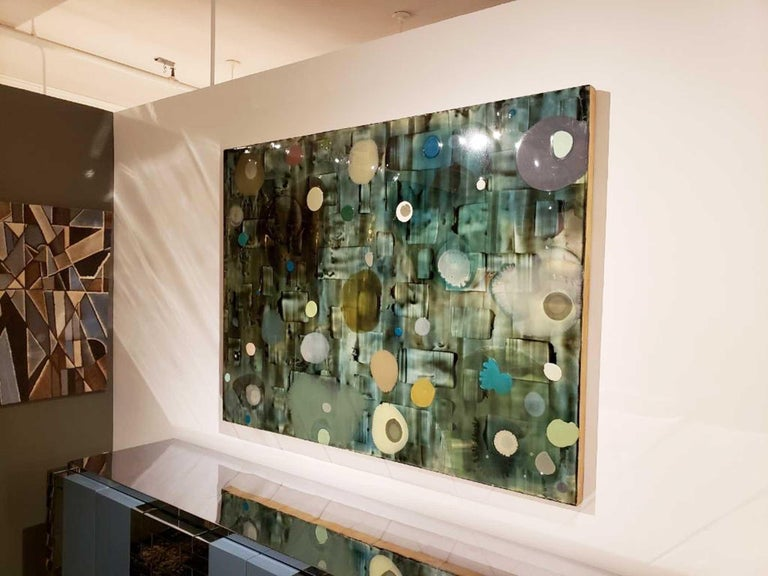 Jeff Leonard Abstract Resin Panel in Aqua Greens and Blues For Sale 4