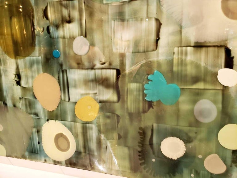 Jeff Leonard Abstract Resin Panel in Aqua Greens and Blues For Sale 5