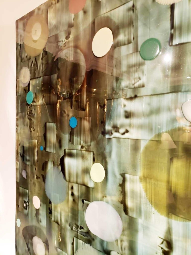 Jeff Leonard Abstract Resin Panel in Aqua Greens and Blues For Sale 8