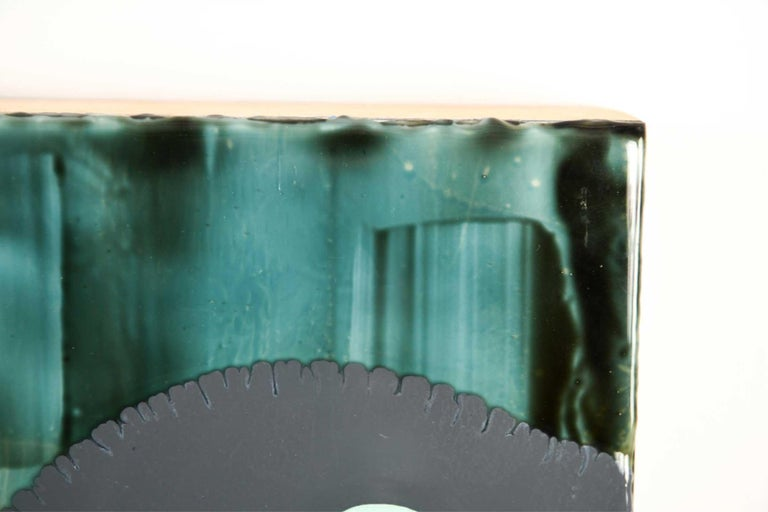 American Jeff Leonard Abstract Resin Panel in Aqua Greens and Blues For Sale
