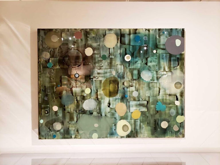 Jeff Leonard Abstract Resin Panel in Aqua Greens and Blues For Sale 1