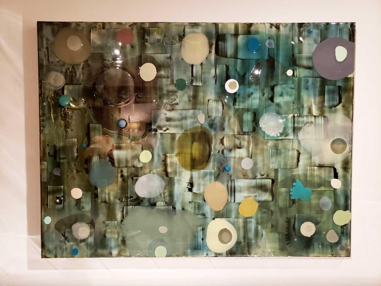 Jeff Leonard Abstract Resin Panel in Aqua Greens and Blues For Sale 2