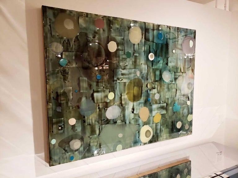 Jeff Leonard Abstract Resin Panel in Aqua Greens and Blues For Sale 3
