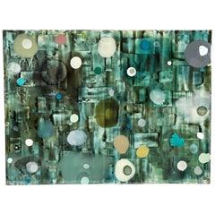 Jeff Leonard Abstract Resin Panel in Aqua Greens and Blues