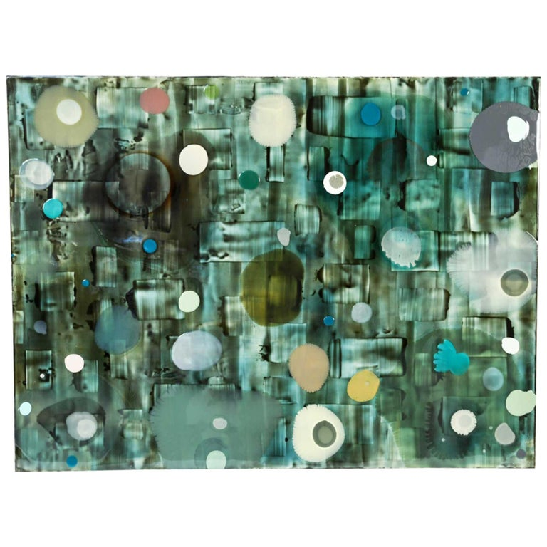 Jeff Leonard Abstract Resin Panel in Aqua Greens and Blues For Sale