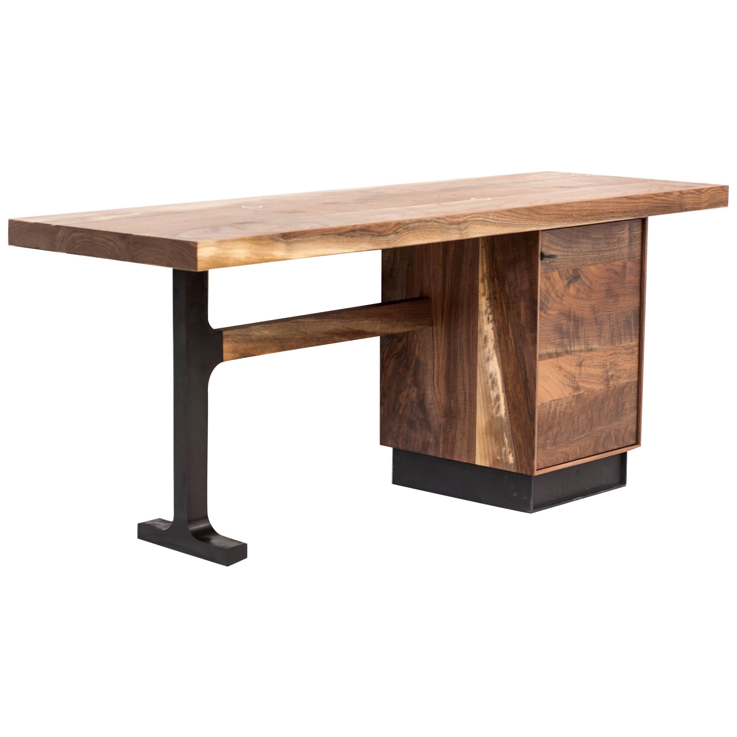 Jeff Martin Joinery Shaker Desk in Claro Walnut and Cast Bronze