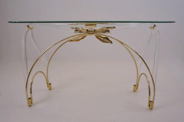 Jeff Messerschmidt Console Table, Lucite, Gold-Plated Gilt and Glass, 1970s, USA For Sale 4