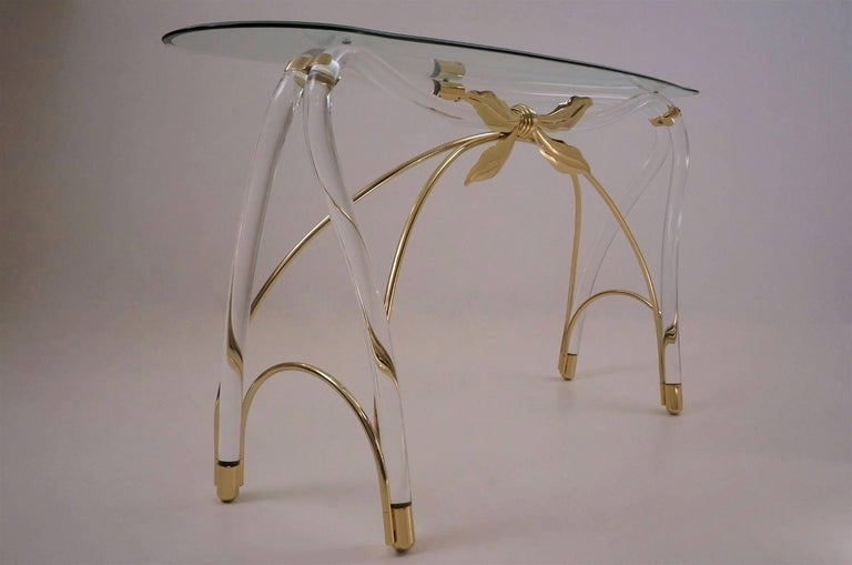 Post-Modern Jeff Messerschmidt Console Table, Lucite, Gold-Plated Gilt and Glass, 1970s, USA For Sale