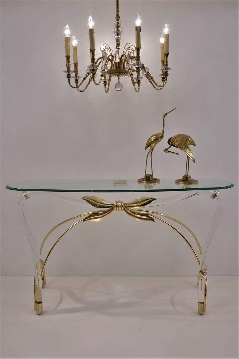 American Jeff Messerschmidt Console Table, Lucite, Gold-Plated Gilt and Glass, 1970s, USA For Sale
