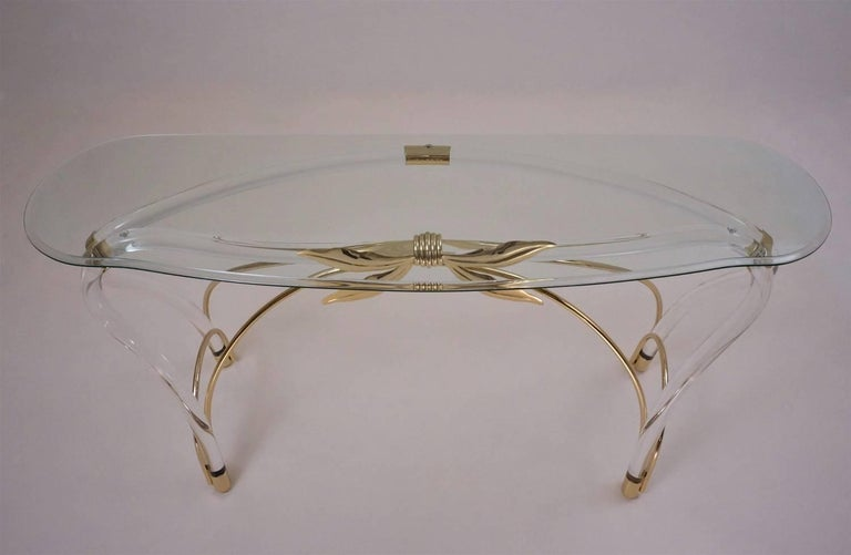 Beveled Jeff Messerschmidt Console Table, Lucite, Gold-Plated Gilt and Glass, 1970s, USA For Sale