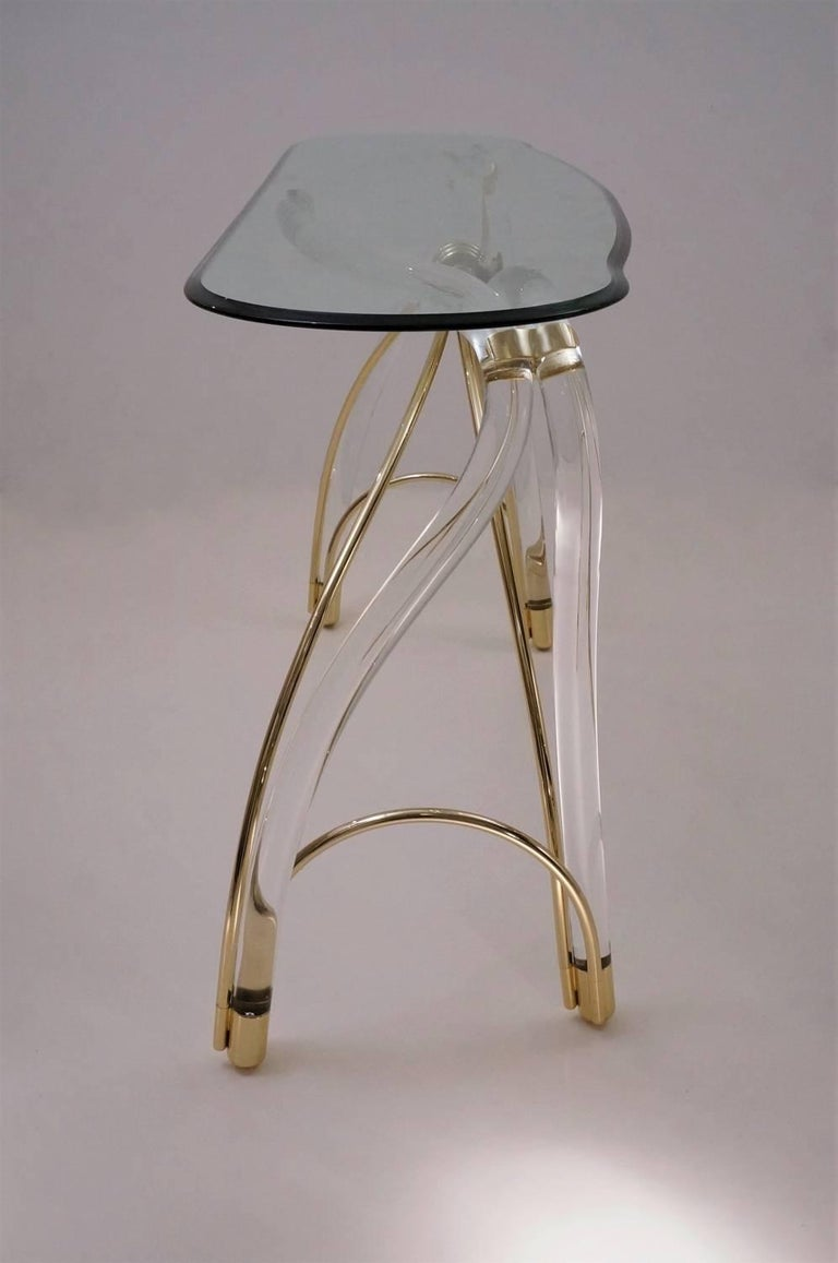 Jeff Messerschmidt Console Table, Lucite, Gold-Plated Gilt and Glass, 1970s, USA In Good Condition For Sale In London, GB