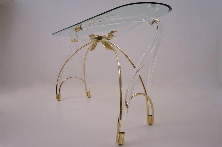 Jeff Messerschmidt Console Table, Lucite, Gold-Plated Gilt and Glass, 1970s, USA For Sale 1