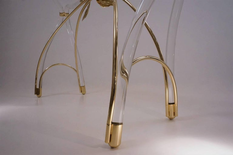 Jeff Messerschmidt Console Table, Lucite, Gold-Plated Gilt and Glass, 1970s, USA For Sale 2