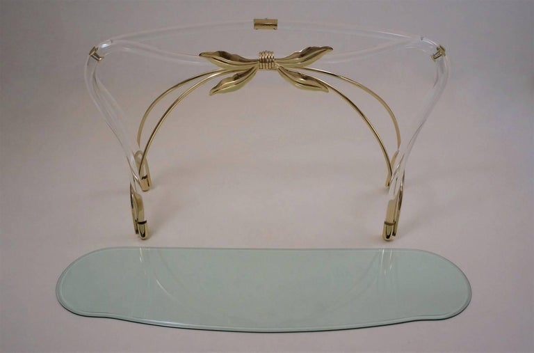 Jeff Messerschmidt Console Table, Lucite, Gold-Plated Gilt and Glass, 1970s, USA For Sale 6