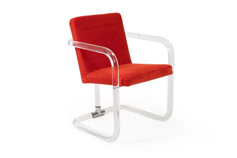Mid-Century Modern Jeff Messerschmidt Lucite and Mohair Chairs