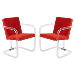 Jeff Messerschmidt Lucite and Mohair Chairs